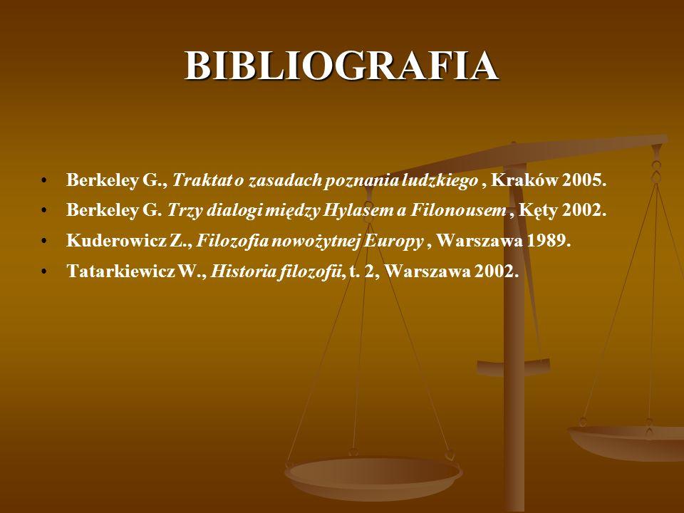 BIBLIOGRAFIABerkeley G., Traktat o zasadach poznania ludzkiego , Kraków 2005. Berkeley G. Trzy dialogi między Hylasem a Filonousem , Kęty 2002.