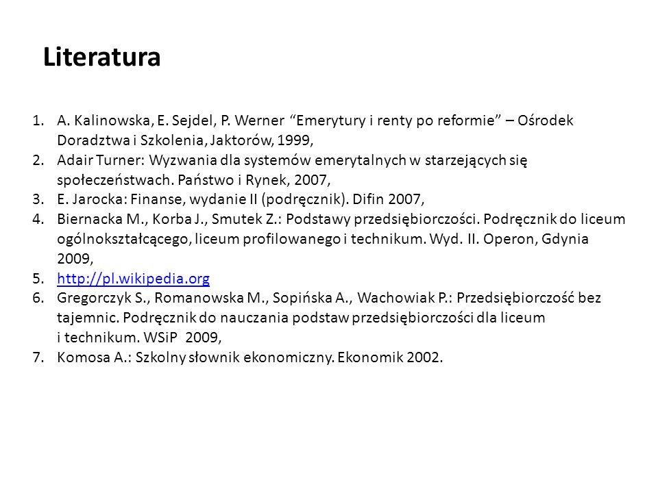 Literatura A. Kalinowska, E. Sejdel, P. Werner Emerytury i renty po reformie – Ośrodek Doradztwa i Szkolenia, Jaktorów, 1999,