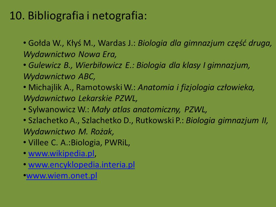 10. Bibliografia i netografia: