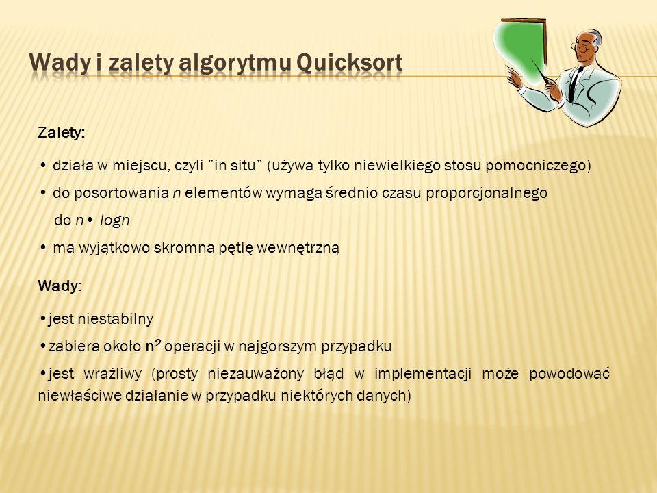 Wady i zalety algorytmu Quicksort