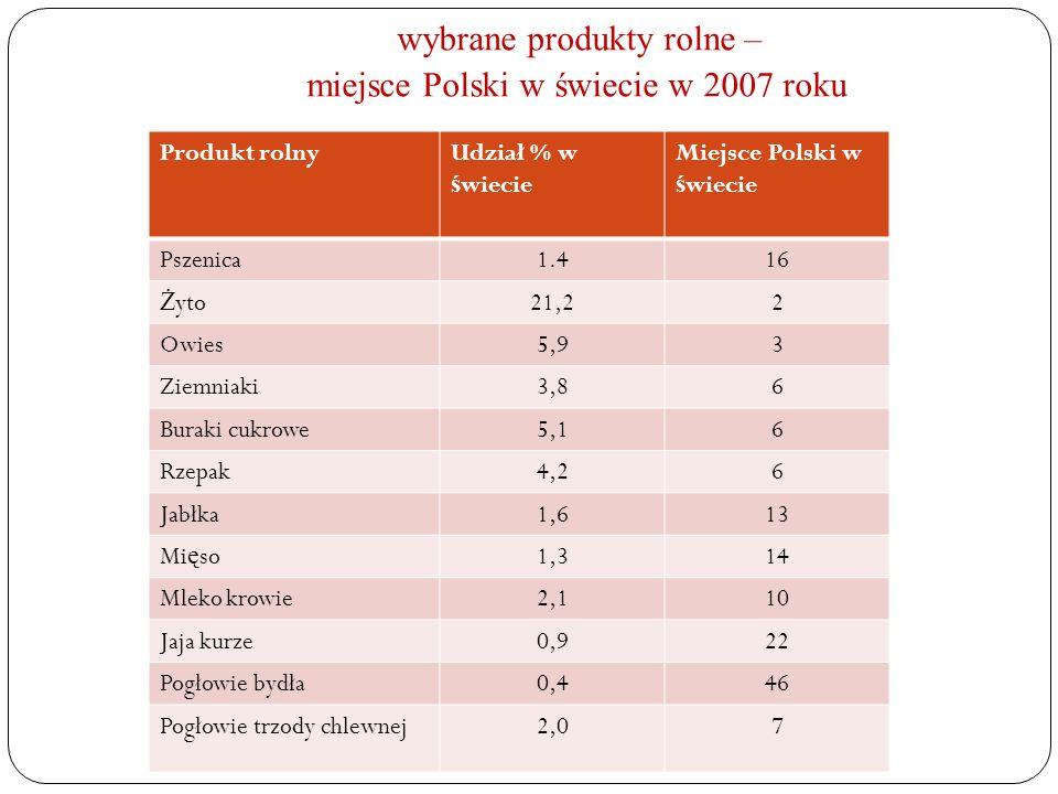 wybrane produkty rolne – miejsce Polski w świecie w 2007 roku