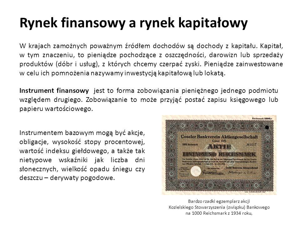Rynek finansowy a rynek kapitałowy