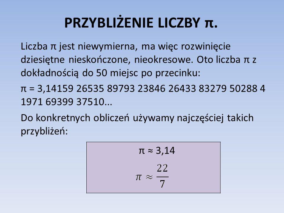 PRZYBLIŻENIE LICZBY π.