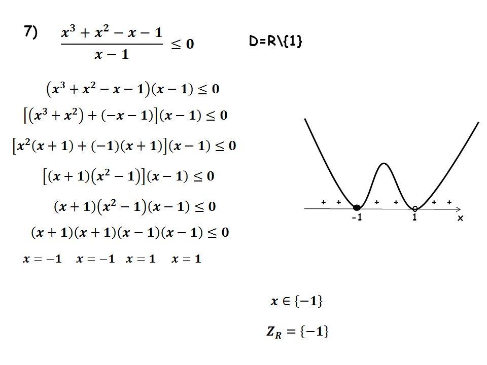 7) D=R\{1} • + + + + + + o -1 1 x