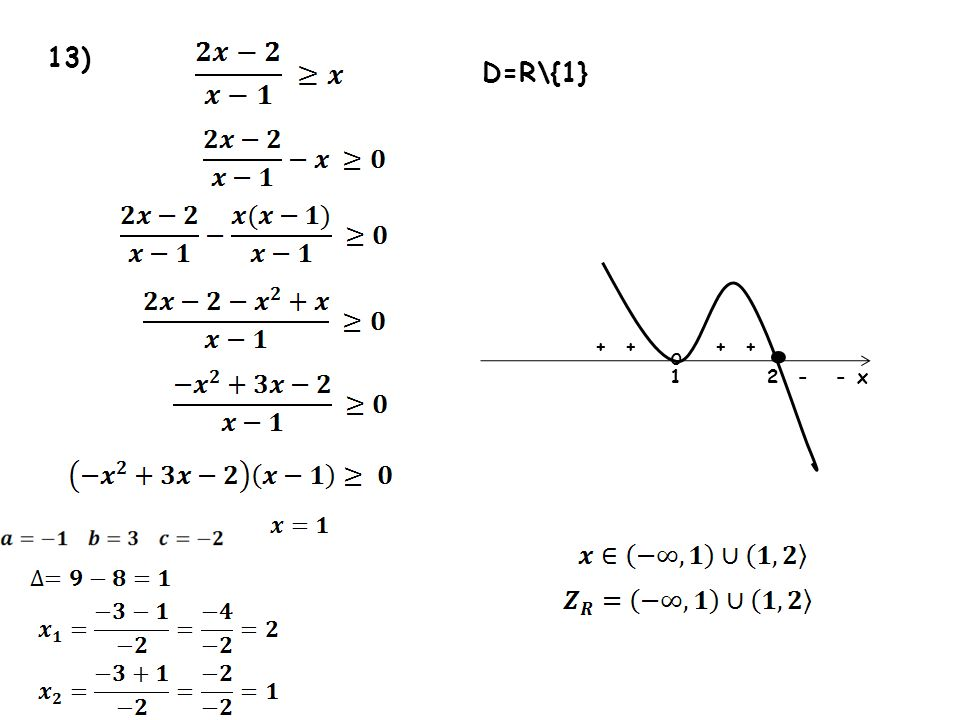 13) D=R\{1} • + + + + o 1 2 - - x