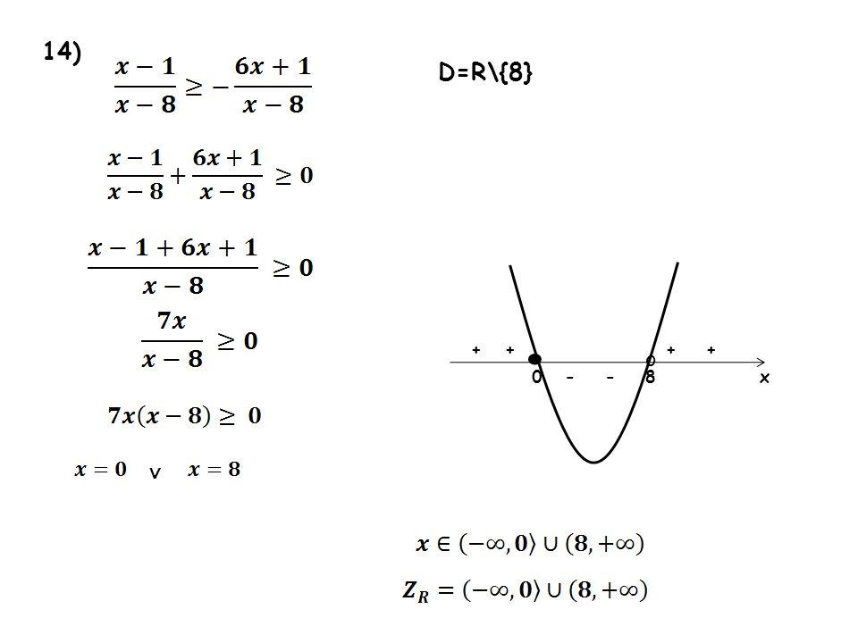 14) D=R\{8} • + + + + o - - 8 x ∨