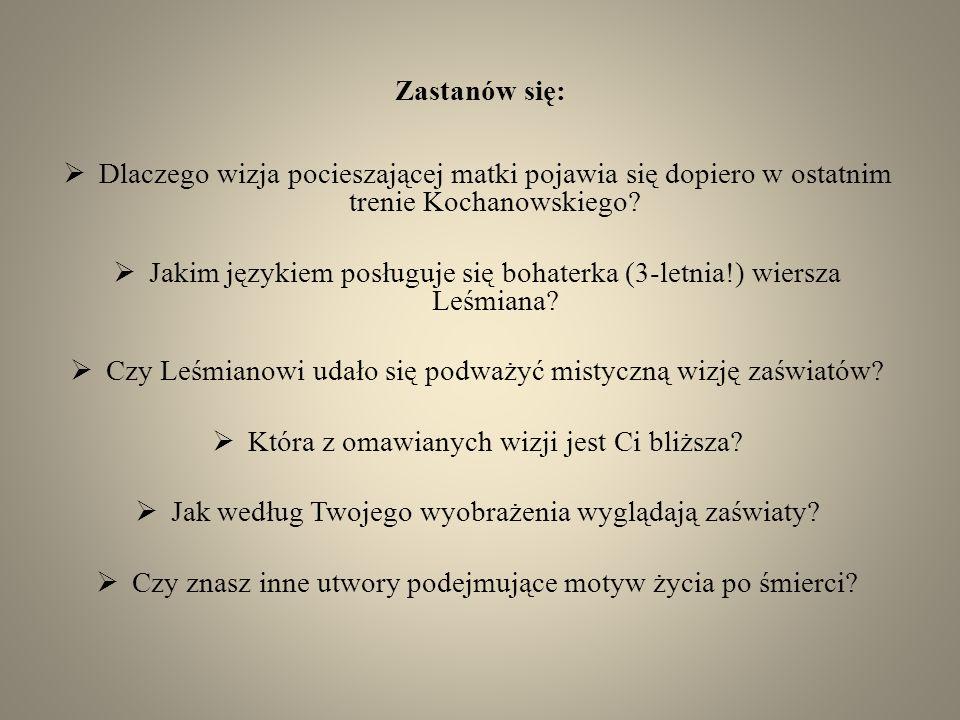 Jakim językiem posługuje się bohaterka (3-letnia!) wiersza Leśmiana