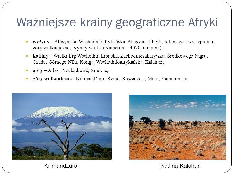 Ważniejsze krainy geograficzne Afryki