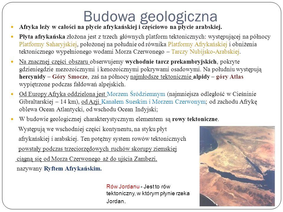 Budowa geologiczna Afryka leży w całości na płycie afrykańskiej i częściowo na płycie arabskiej.
