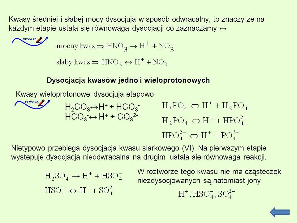 Dysocjacja kwasów jedno i wieloprotonowych