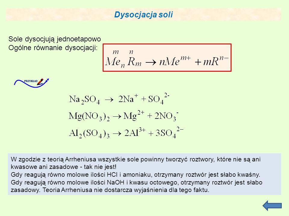 Dysocjacja soli Sole dysocjują jednoetapowo