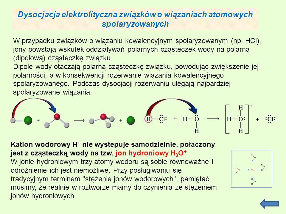 Dysocjacja elektrolityczna związków o wiązaniach atomowych spolaryzowanych