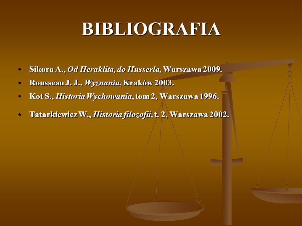 BIBLIOGRAFIA Sikora A., Od Heraklita, do Husserla, Warszawa 2009.