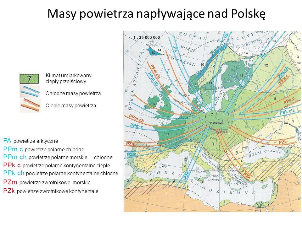 Masy powietrza napływające nad Polskę