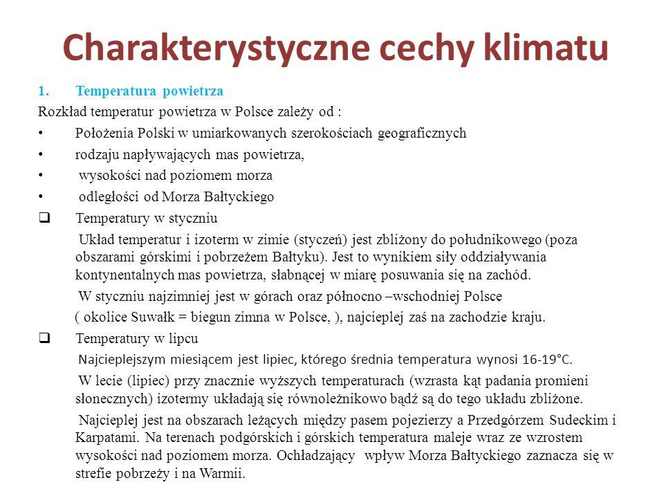 Charakterystyczne cechy klimatu