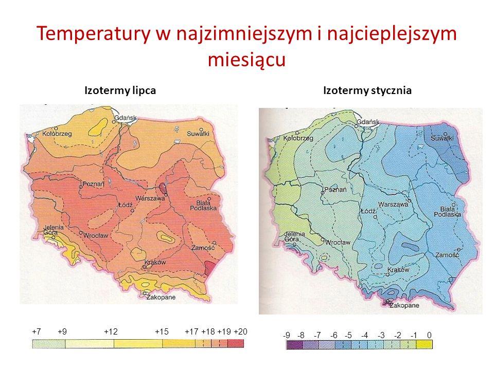 Temperatury w najzimniejszym i najcieplejszym miesiącu