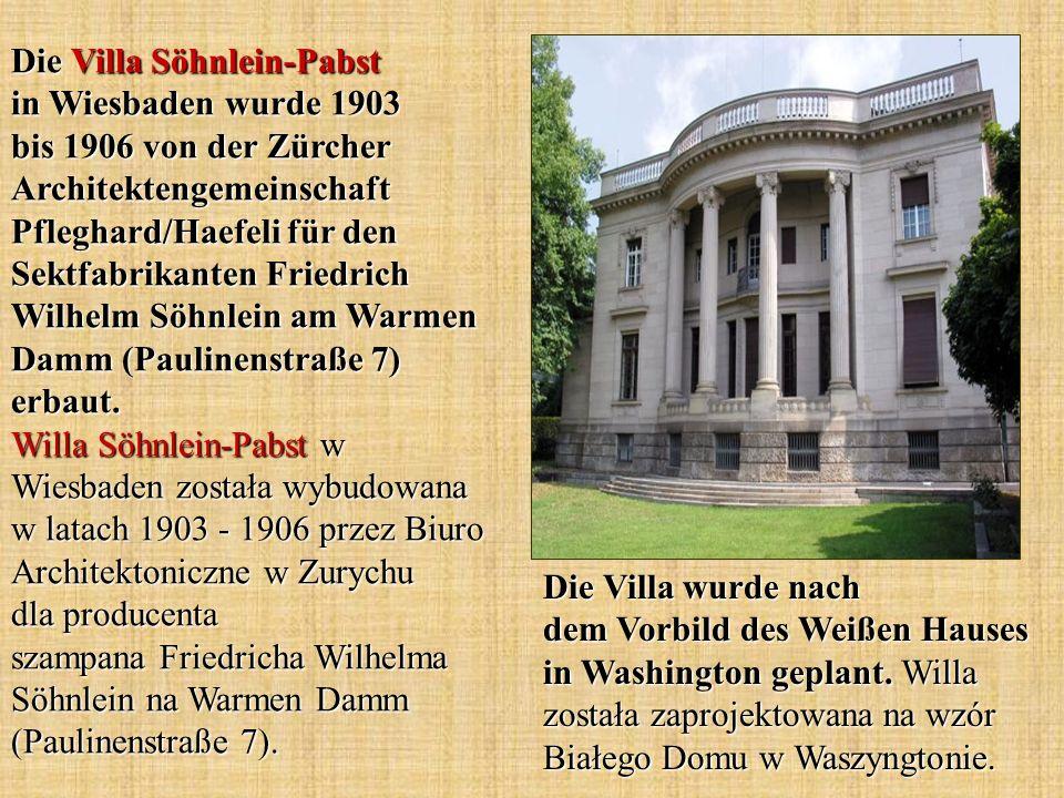 Die Villa Söhnlein-Pabst in Wiesbaden wurde 1903 bis 1906 von der Zürcher Architektengemeinschaft Pfleghard/Haefeli für den Sektfabrikanten Friedrich Wilhelm Söhnlein am Warmen Damm (Paulinenstraße 7) erbaut. Willa Söhnlein-Pabst w Wiesbaden została wybudowana w latach 1903 - 1906 przez Biuro Architektoniczne w Zurychu dla producenta szampana Friedricha Wilhelma Söhnlein na Warmen Damm (Paulinenstraße 7).