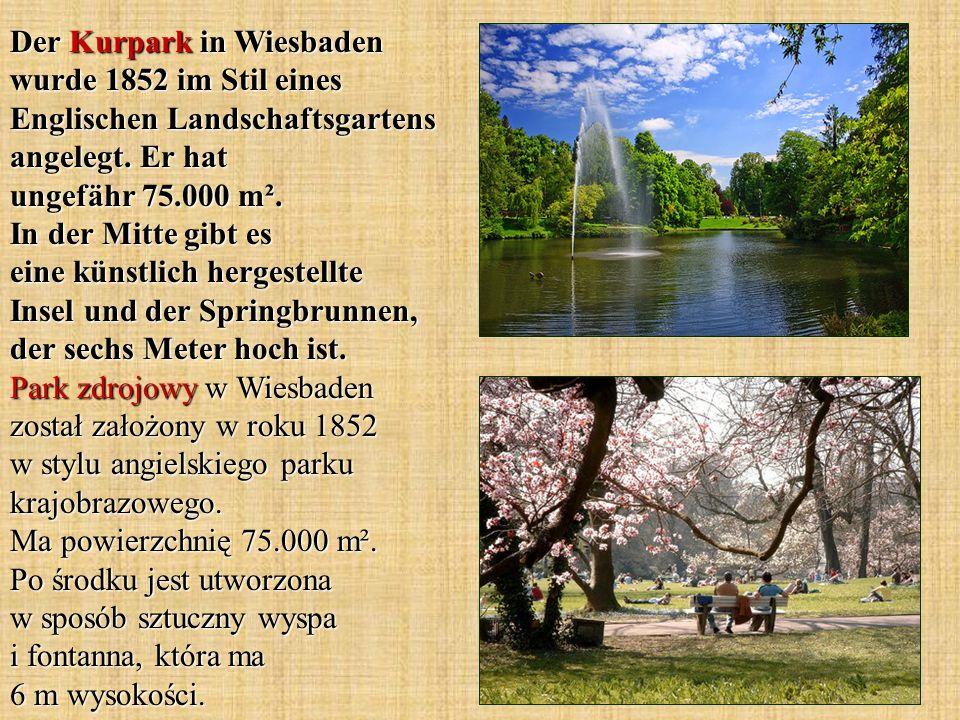 Der Kurpark in Wiesbaden wurde 1852 im Stil eines Englischen Landschaftsgartens angelegt.