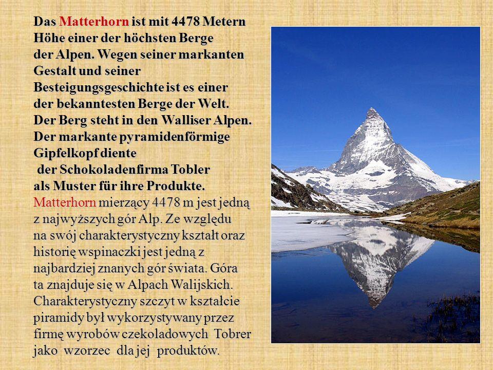 Das Matterhorn ist mit 4478 Metern Höhe einer der höchsten Berge der Alpen.