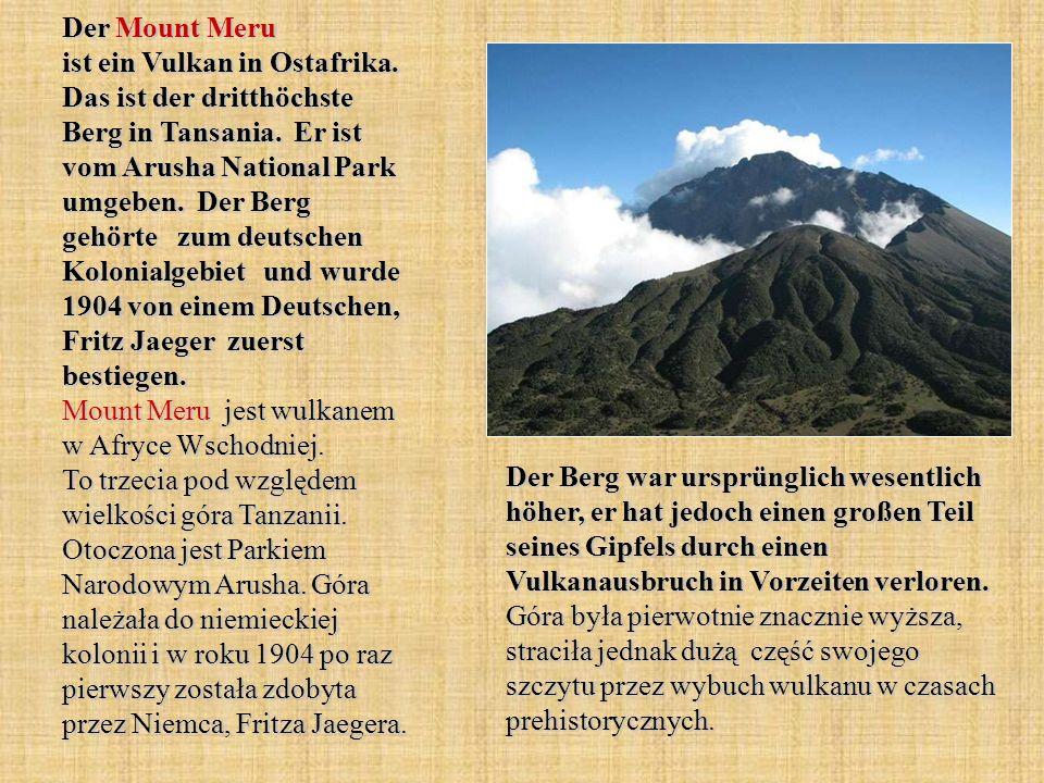 Der Mount Meru ist ein Vulkan in Ostafrika
