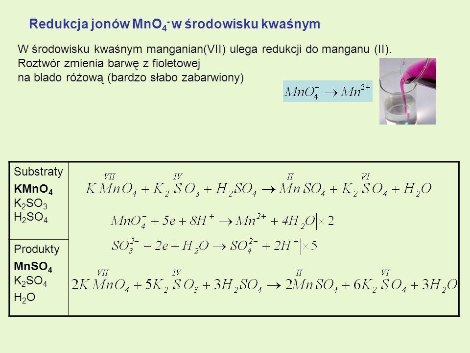 Redukcja jonów MnO4- w środowisku kwaśnym