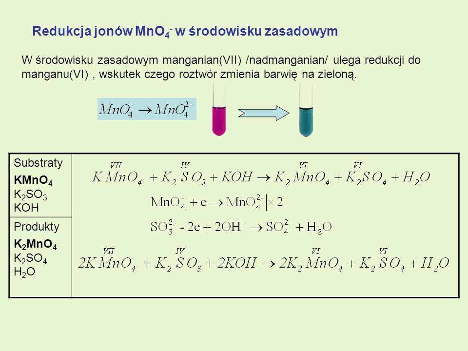 Redukcja jonów MnO4- w środowisku zasadowym