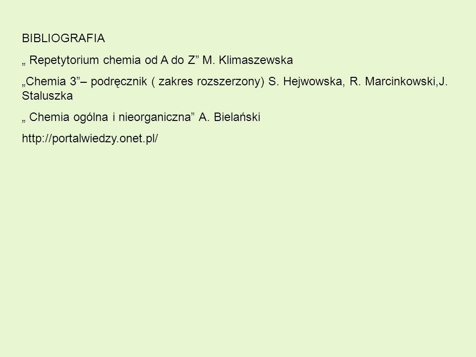 """BIBLIOGRAFIA """" Repetytorium chemia od A do Z M. Klimaszewska."""