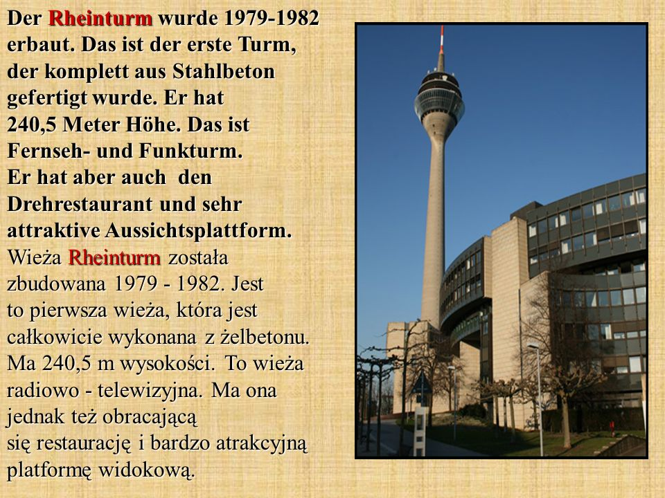 Der Rheinturm wurde 1979-1982 erbaut