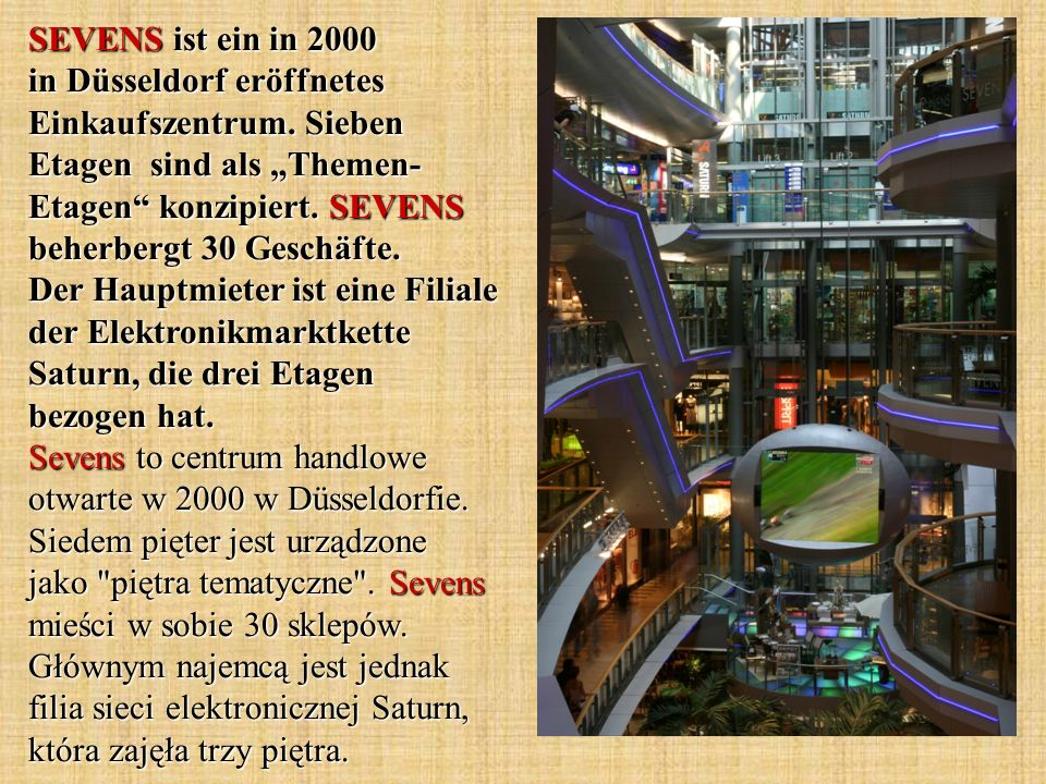 SEVENS ist ein in 2000 in Düsseldorf eröffnetes Einkaufszentrum