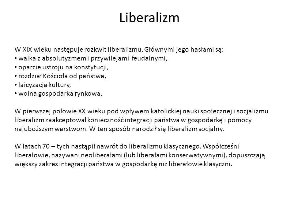 Liberalizm W XIX wieku następuje rozkwit liberalizmu. Głównymi jego hasłami są: walka z absolutyzmem i przywilejami feudalnymi,