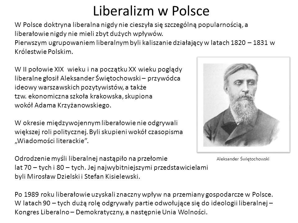 Liberalizm w PolsceW Polsce doktryna liberalna nigdy nie cieszyła się szczególną popularnością, a liberałowie nigdy nie mieli zbyt dużych wpływów.