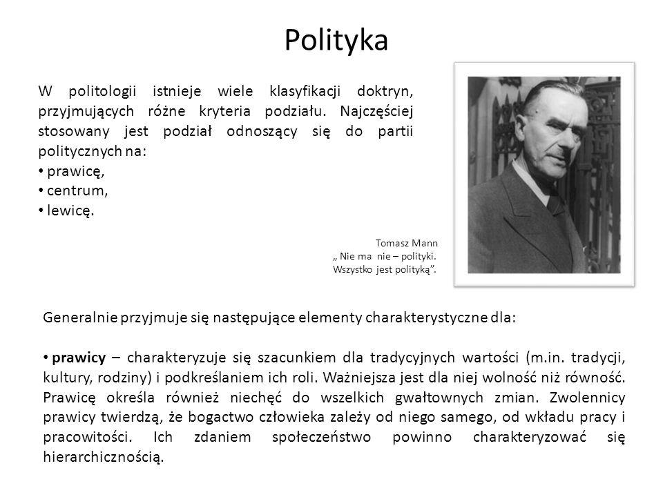 """PolitykaTomasz Mann. """" Nie ma nie – polityki. Wszystko jest polityką ."""