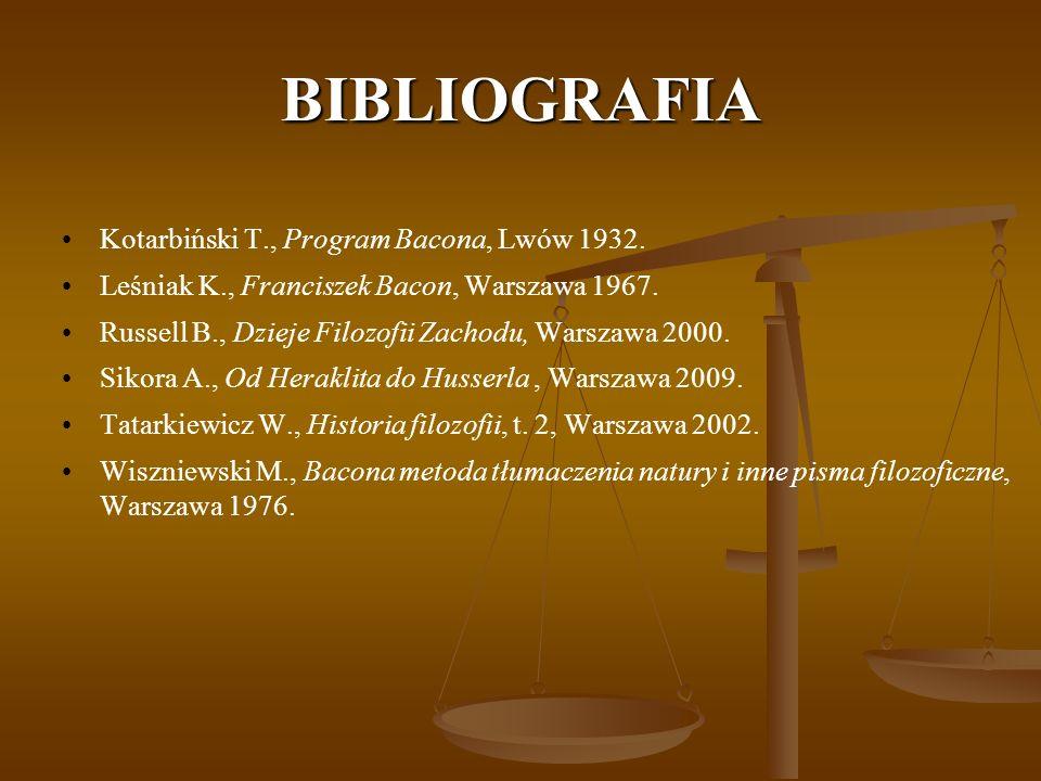 BIBLIOGRAFIA Kotarbiński T., Program Bacona, Lwów 1932.
