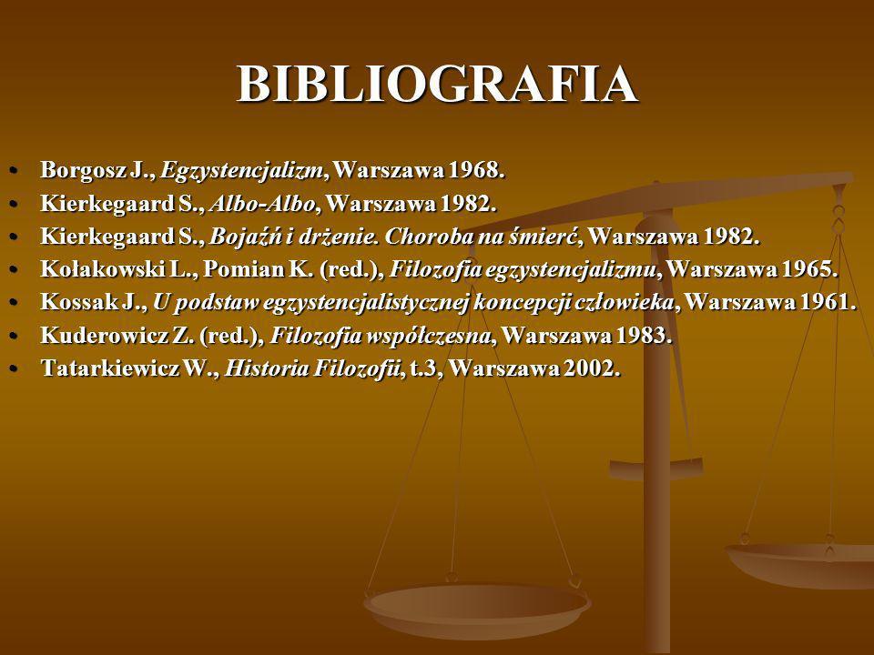 BIBLIOGRAFIA Borgosz J., Egzystencjalizm, Warszawa 1968.