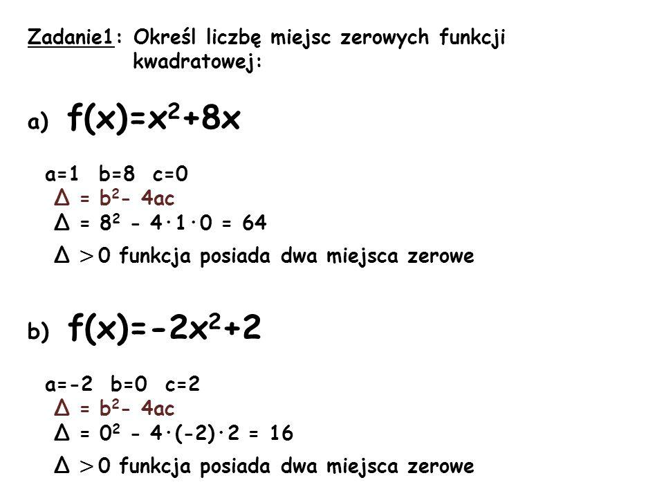 a) f(x)=x2+8x b) f(x)=-2x2+2