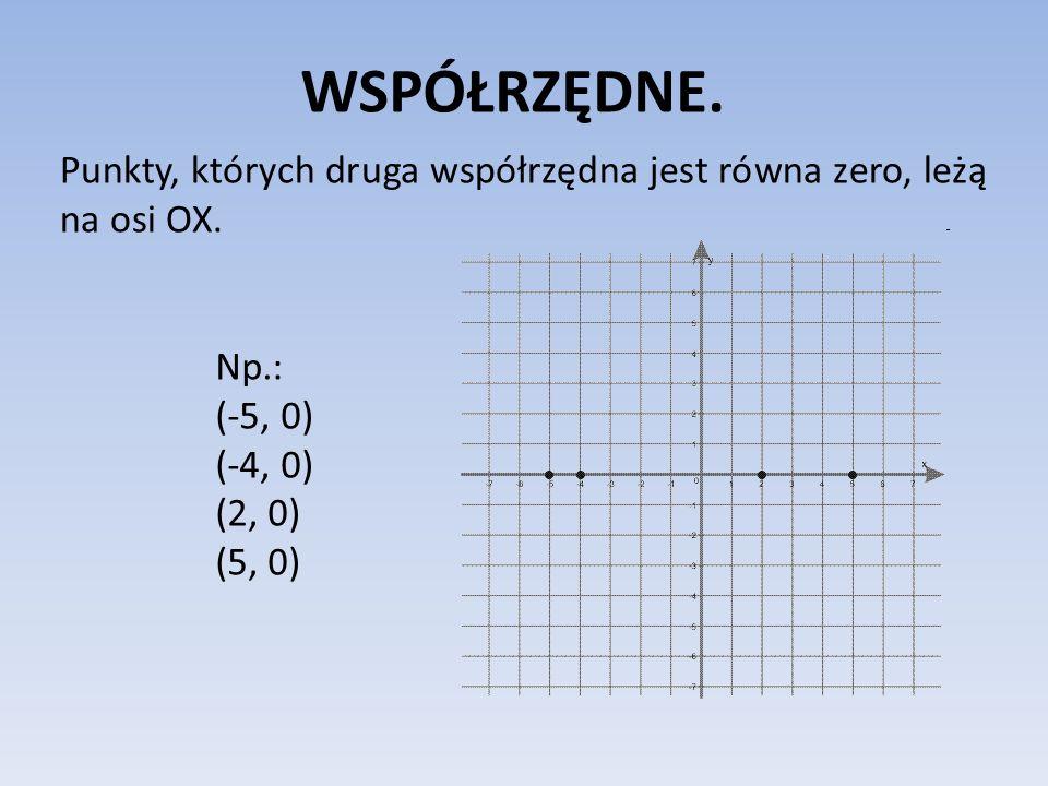 WSPÓŁRZĘDNE. Punkty, których druga współrzędna jest równa zero, leżą na osi OX. Np.: (-5, 0) (-4, 0)