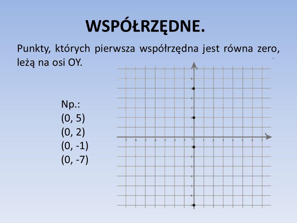 WSPÓŁRZĘDNE. Punkty, których pierwsza współrzędna jest równa zero, leżą na osi OY. Np.: (0, 5) (0, 2)