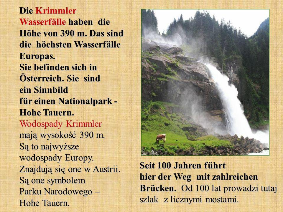 Die Krimmler Wasserfälle haben die Höhe von 390 m