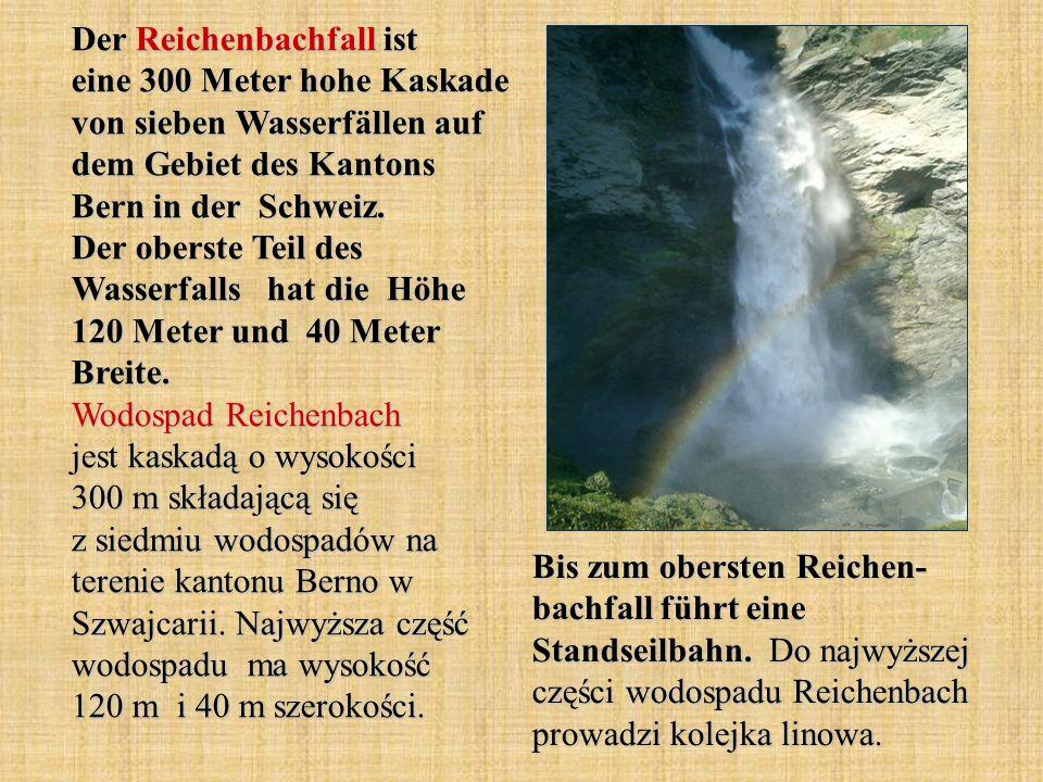 Der Reichenbachfall ist eine 300 Meter hohe Kaskade von sieben Wasserfällen auf dem Gebiet des Kantons Bern in der Schweiz. Der oberste Teil des Wasserfalls hat die Höhe 120 Meter und 40 Meter Breite. Wodospad Reichenbach jest kaskadą o wysokości 300 m składającą się z siedmiu wodospadów na terenie kantonu Berno w Szwajcarii. Najwyższa część wodospadu ma wysokość 120 m i 40 m szerokości.