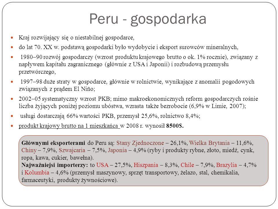 Peru - gospodarka Kraj rozwijający się o niestabilnej gospodarce,