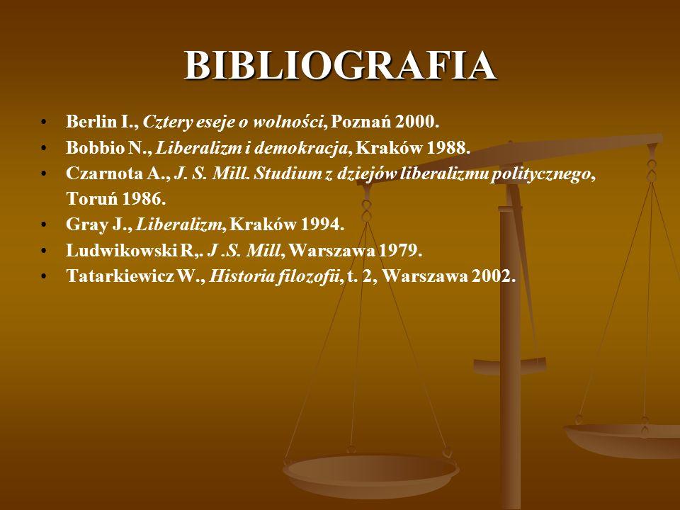 BIBLIOGRAFIA Berlin I., Cztery eseje o wolności, Poznań 2000.