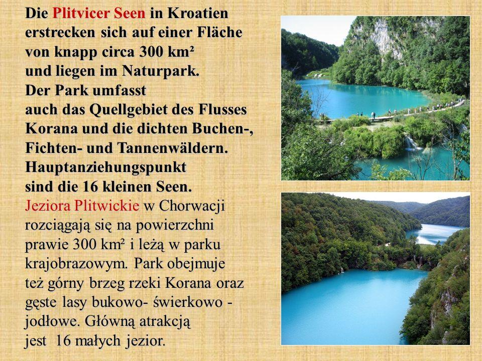 Die Plitvicer Seen in Kroatien erstrecken sich auf einer Fläche von knapp circa 300 km² und liegen im Naturpark.