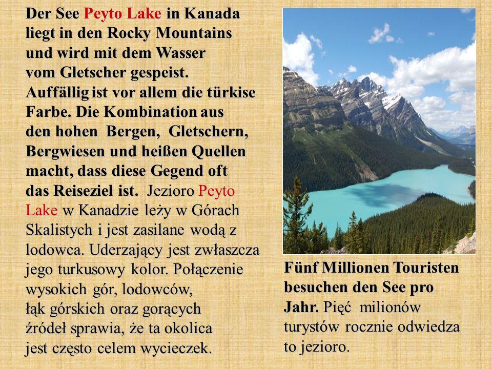 Der See Peyto Lake in Kanada liegt in den Rocky Mountains und wird mit dem Wasser vom Gletscher gespeist. Auffällig ist vor allem die türkise Farbe. Die Kombination aus den hohen Bergen, Gletschern, Bergwiesen und heißen Quellen macht, dass diese Gegend oft das Reiseziel ist. Jezioro Peyto Lake w Kanadzie leży w Górach Skalistych i jest zasilane wodą z lodowca. Uderzający jest zwłaszcza jego turkusowy kolor. Połączenie wysokich gór, lodowców, łąk górskich oraz gorących źródeł sprawia, że ta okolica jest często celem wycieczek.