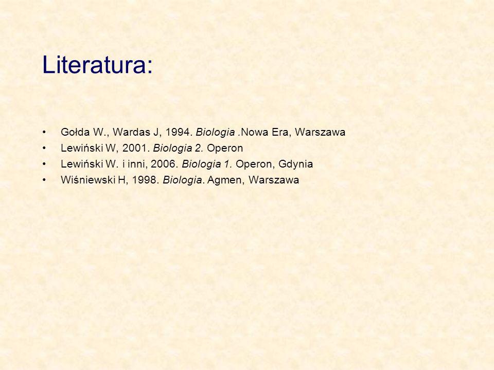 Literatura: Gołda W., Wardas J, 1994. Biologia .Nowa Era, Warszawa