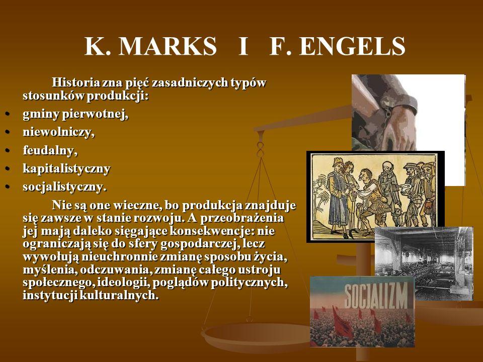 K. MARKS I F. ENGELS Historia zna pięć zasadniczych typów stosunków produkcji: gminy pierwotnej,