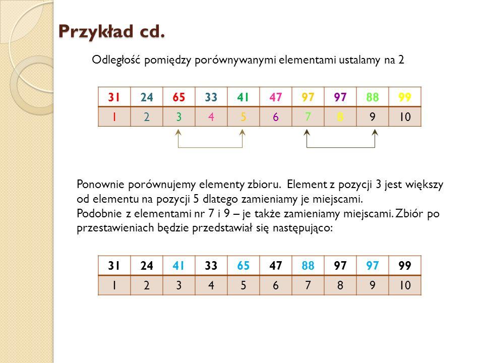 Przykład cd. Odległość pomiędzy porównywanymi elementami ustalamy na 2