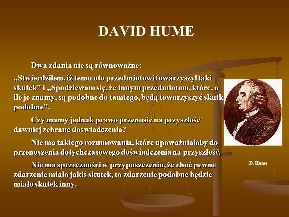 DAVID HUME Dwa zdania nie są równoważne: