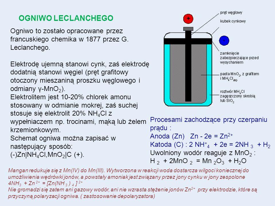 OGNIWO LECLANCHEGO Ogniwo to zostało opracowane przez francuskiego chemika w 1877 przez G. Leclanchego.
