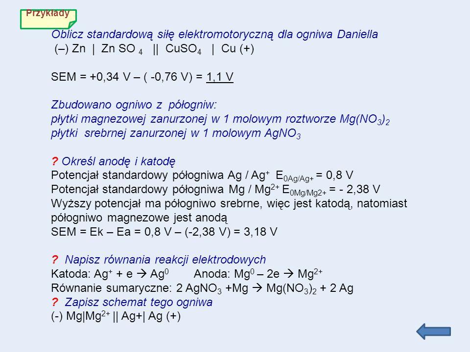 Potencjał standardowy półogniwa Ag / Ag+ E0Ag/Ag+ = 0,8 V