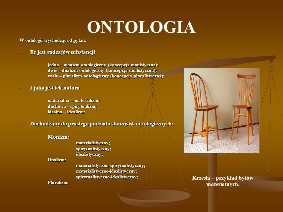 Krzesła – przykład bytów materialnych.